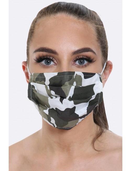 Pleated Camo Printed Face Mask